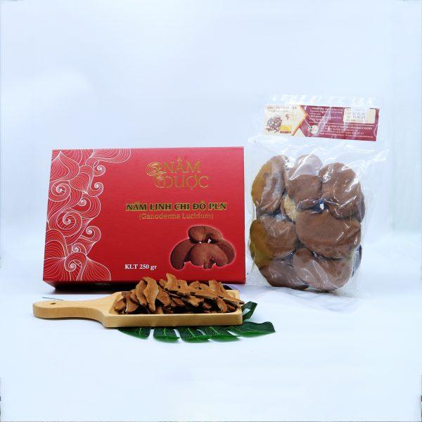 nấm linh chi đỏ giống Nhật, hộp 250g nguyên tai